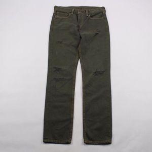 Levis 511 Distressed Slim Denim Jeans Green 32x32
